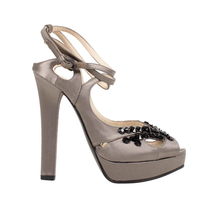 Satin & Crystals Open Toe Pumps - Gray