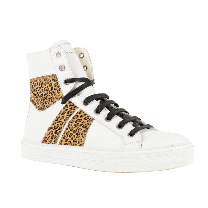 Men's Sunset White/Leopard Leather Sneakers