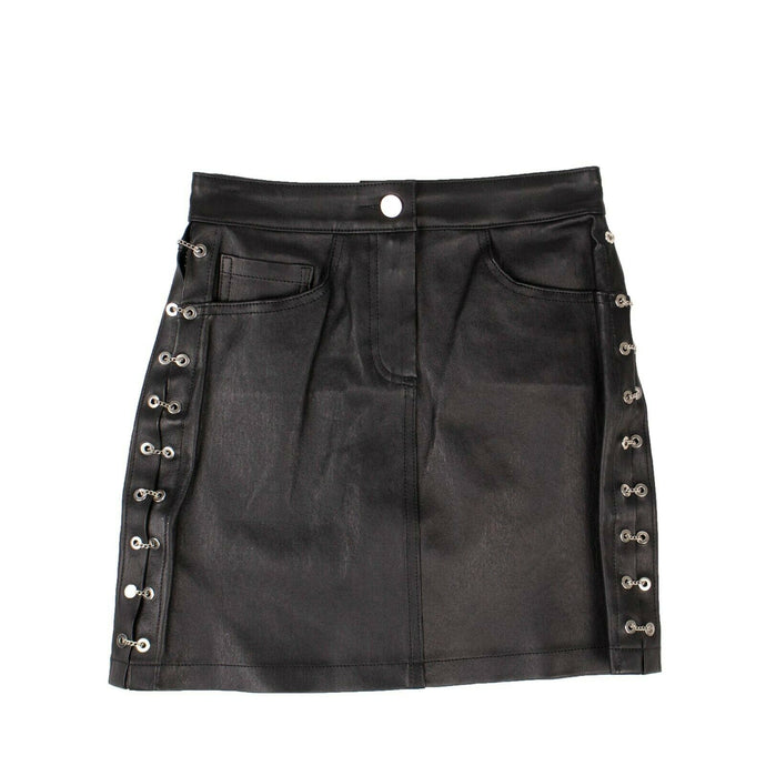 Leather Chain Mini Skirt - Black
