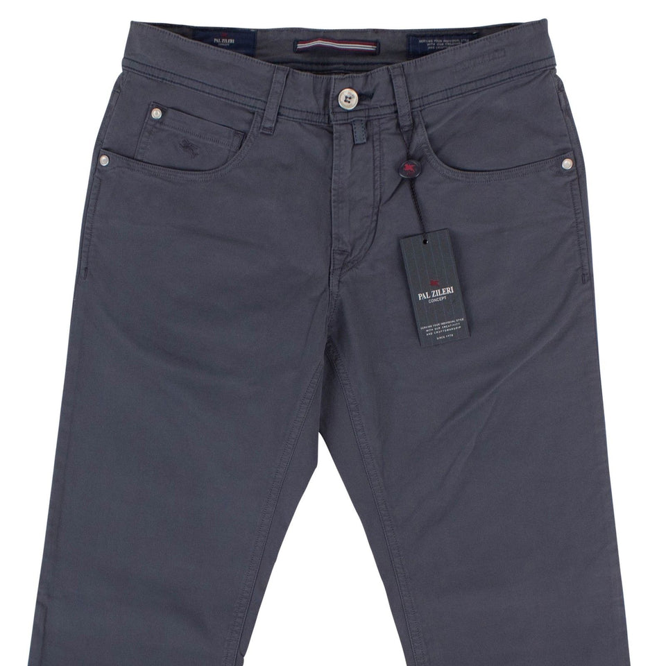 Gray Cotton Blend Pants