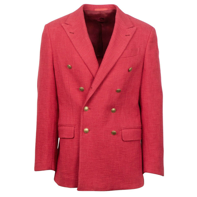 Cotton Blend Double Breasted Sport Coat - Red