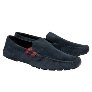 Men's Suede Web Detail Driver Loafers - Navy