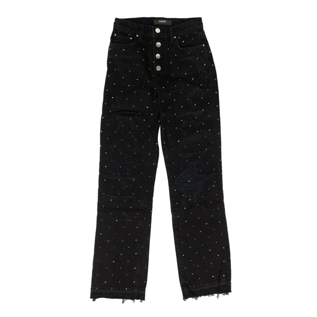 Crystal-Embellished Frayed Hem Straight Jeans - Black