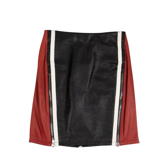 Leather Block Color Mini Skirt - Black
