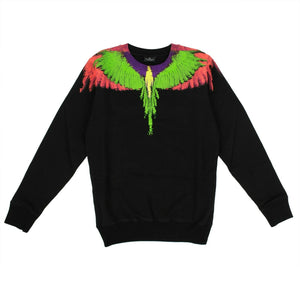 Cotton Multicolored Wings Sweatshirt - Black
