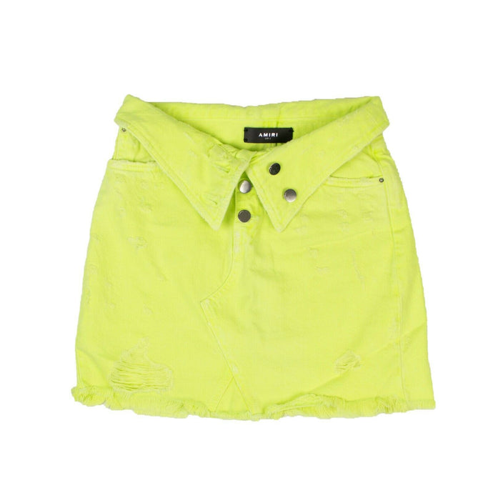 Denim Destroyed Foldover Mini Skirt - Neon Yellow