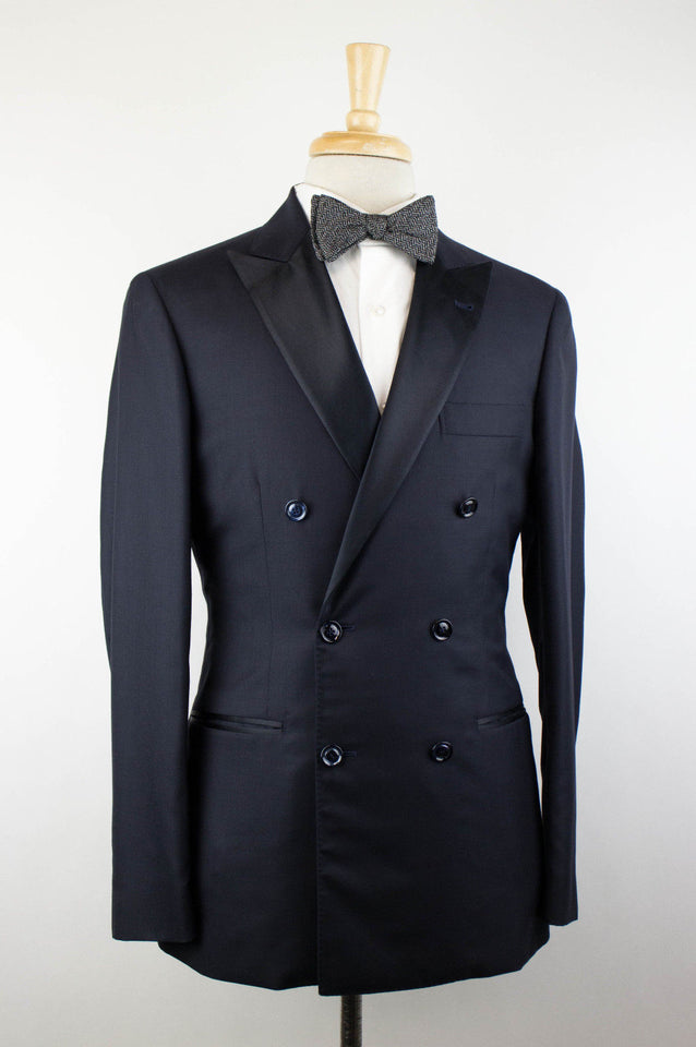 Cashmere Satin Lapels Double Breasted Tuxedo Suit - Blue