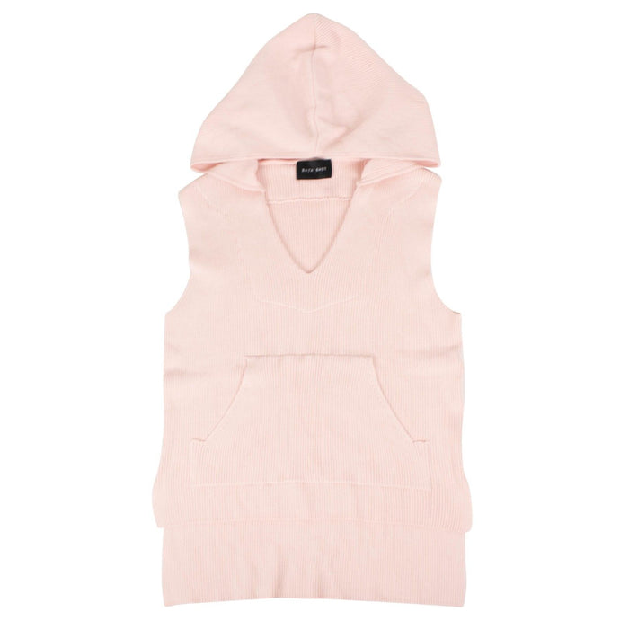 Ribbed Sleeveless Hoodie Sweatshirt - Pink