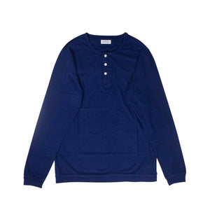 'Mitch Pima' Henley Long Sleeve T-Shirt  - Cobalt Blue