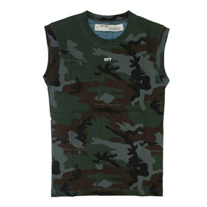 'Camouflage Print' Cotton Tank Top - Khaki Green