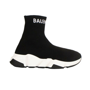 Knit 'Speed' Ankle Boot Sneakers - Black