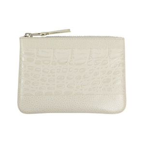 Reptile Leather Patchwork Wallet Pouch - Gray