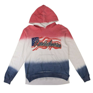 Livin In America Hoodie Sweatshirt  - White/Red/Blue