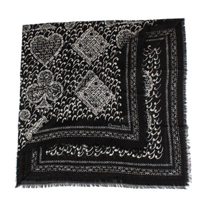 Paisley Cards Cashmere-Silk Scarf - Black / White