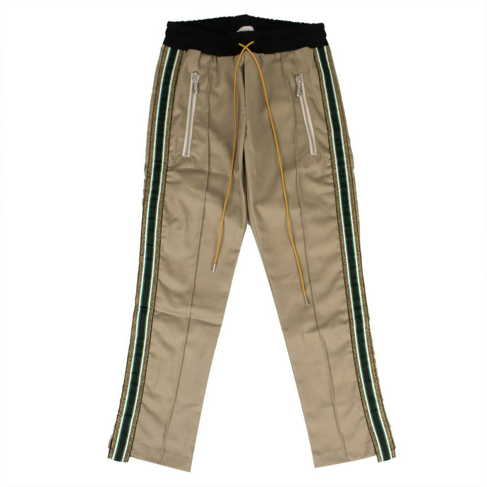Rayon Gold/Green Side Stripe Traxedo Pants - Beige
