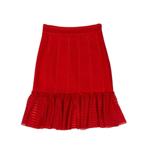 Sheer Knit Flute Panel Mini Skirt - Red