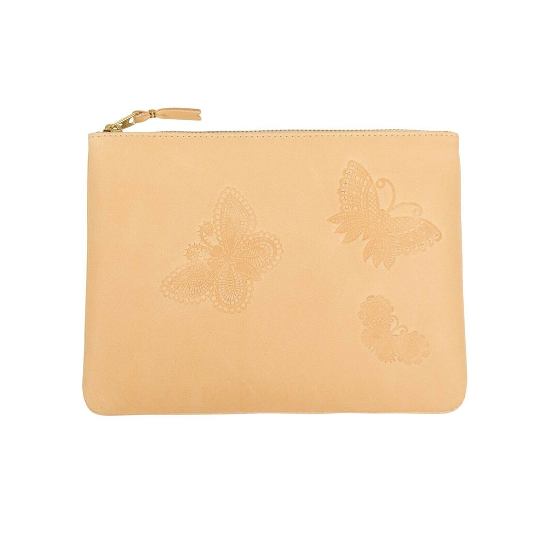 Leather Butterfly Embossed Pouch Wallet - Beige