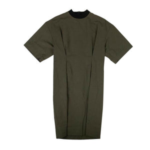 Washed Linen Cotton Short Sleeve Midi Dress - Dark Olive