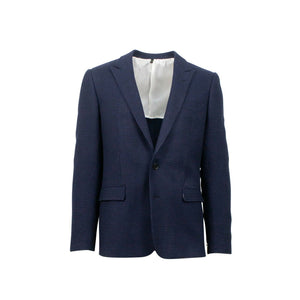 Drop 10 Houndstooth 2 Button Wool Blend Sport Coat - Navy Blue