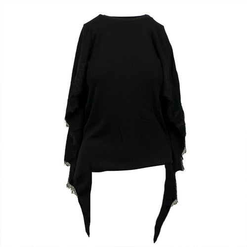 Knit  With Lace Detail Cape Top - Black