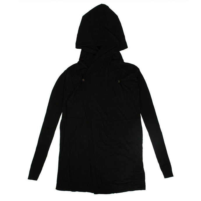 Cashmere Hooded Cardigan With Button Closure - Black