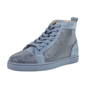 Louis Orlato Strass Suede Leather Hi-Top Sneakers - Light Blue