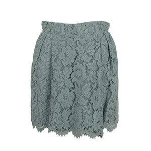 Lace Pleated Skirt - Light Blue