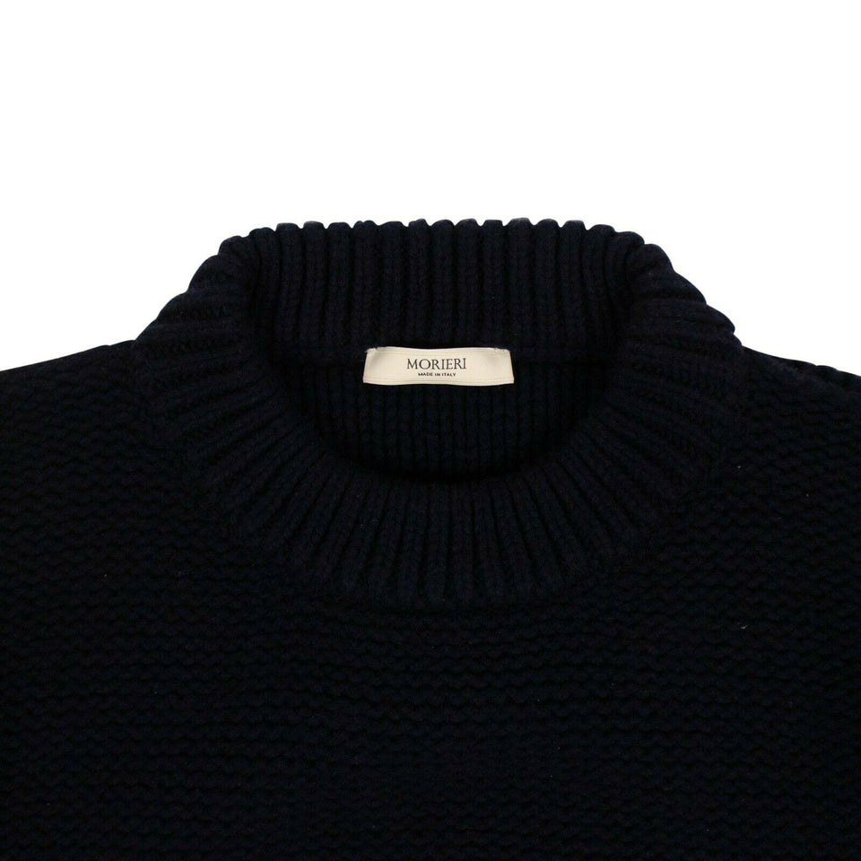 Wool Chunky Knit Sweater - Navy