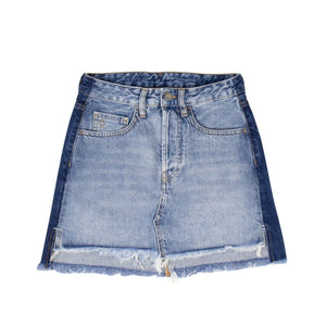 Vintage Wash Denim Mini Skirt - Blue