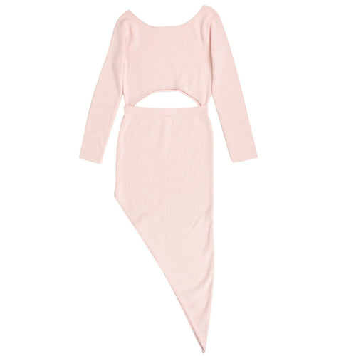 Cut Out Asymmetrical Sweater Dress - Pink