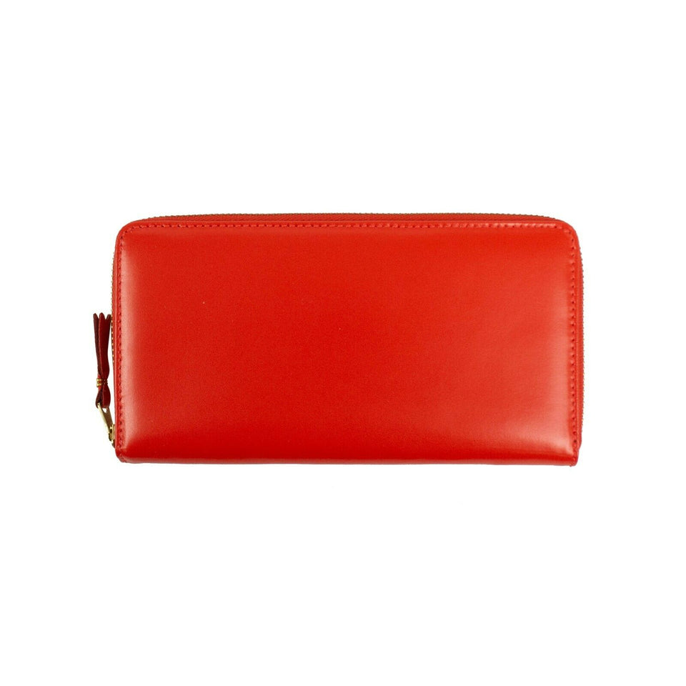 Leather Zip Around Wallet - Red
