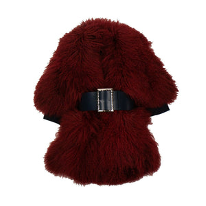 Tibet Lamb Fur Big Buckle Coat - Red