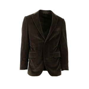 Drop 7 Velvet Cotton Blend 3 Roll 2 Button Sport Coat - Brown