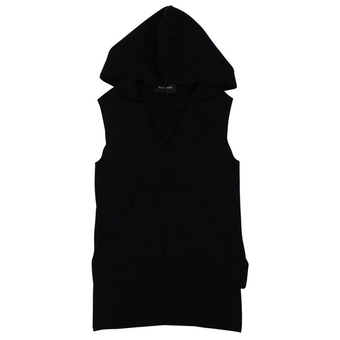 Embassy Ribbed Sleeveless Hoodie - Black