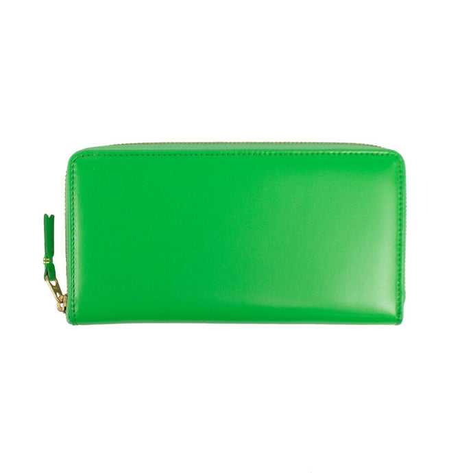 Leather Zip Around Wallet - Green
