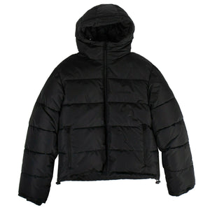 Hooded Quilted Coat - Black