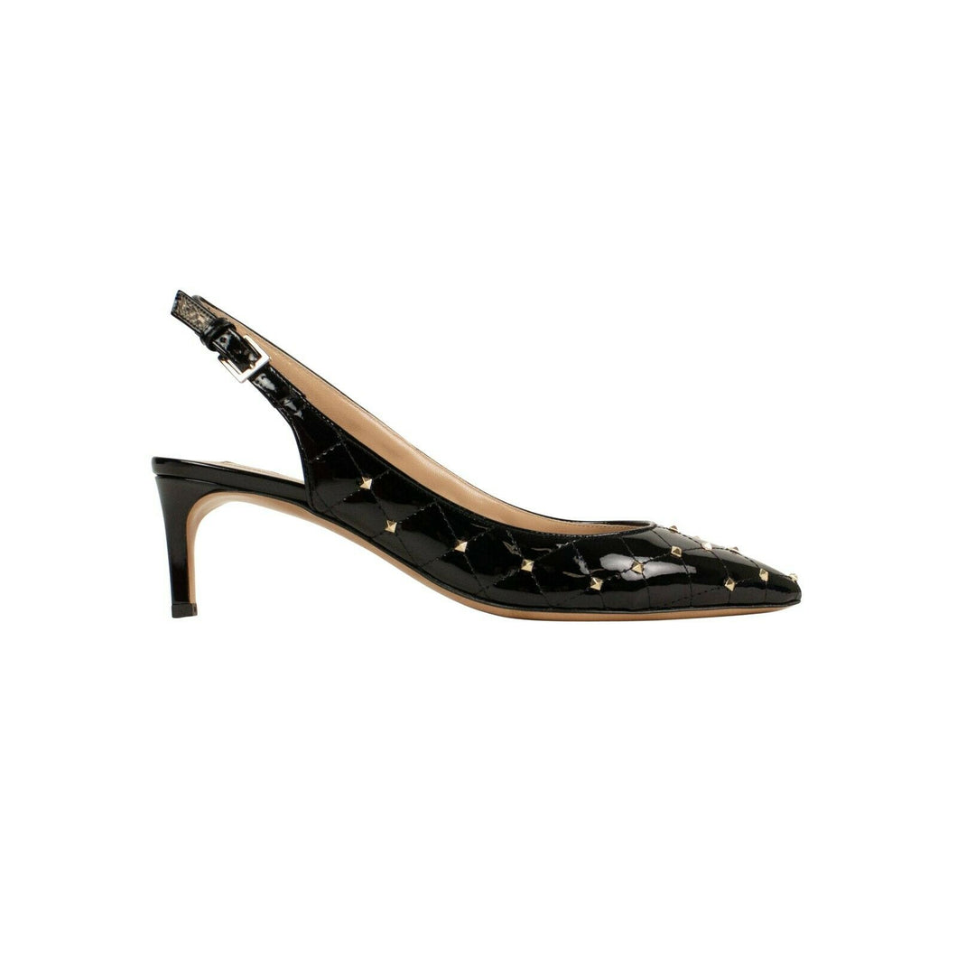 Leather 'Rockstud' Spike Quilted Pumps - Black