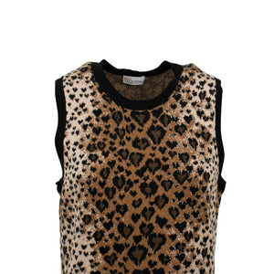 Fit And Flare Leopard Print Sleeveless Dress - Brown