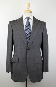 Herringbone Wool 2 Button Suit - Gray