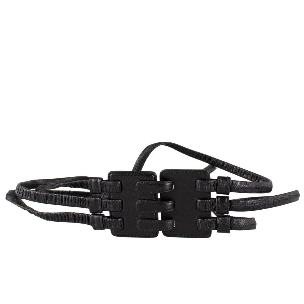 Leather Strappy Elastic Hook And Eye Belt - Black