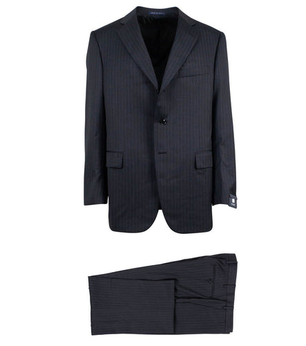 Striped Wool Three Button Suit - Grey