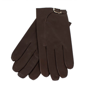 Brown Calfskin Leather With Buckle Gloves