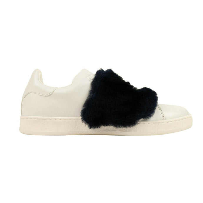 Leather 'Thalie' Fur Low Top Sneakers - White