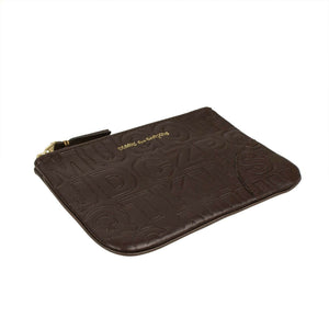 Leather Letter Embossed Wallet Pouch - Brown