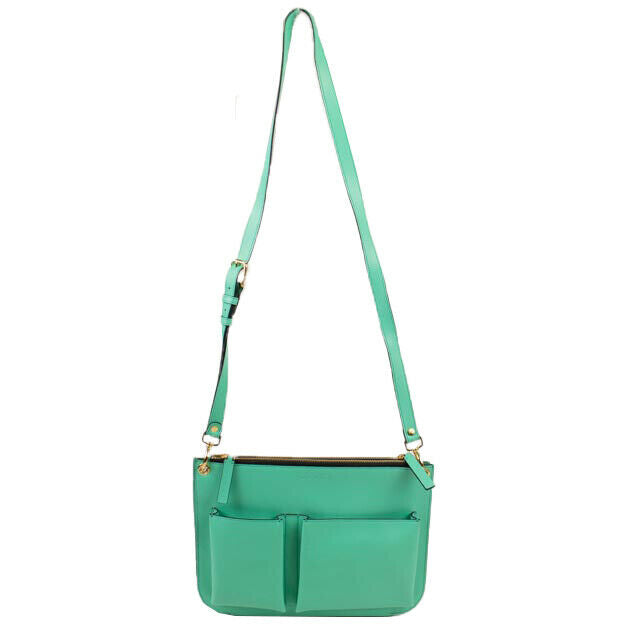 Leather Messenger Pouch Bag - Light Green