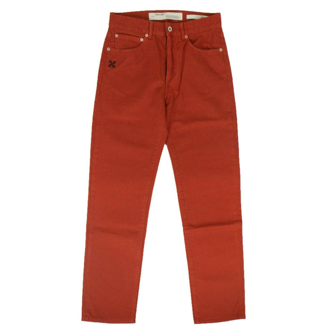 'Diag Baggy Denim' Pants - Orange