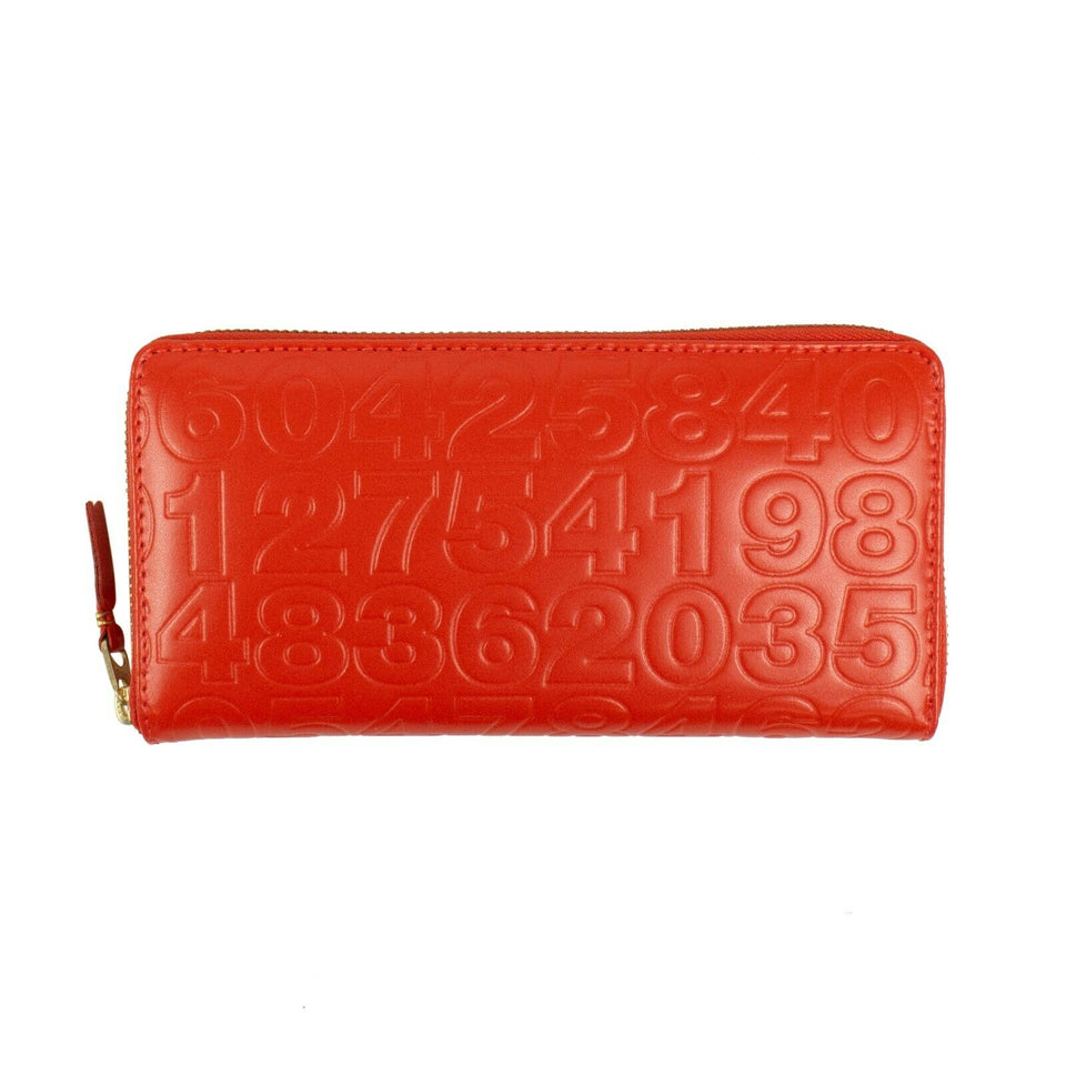 Leather Number Embossed Wallet - Orange