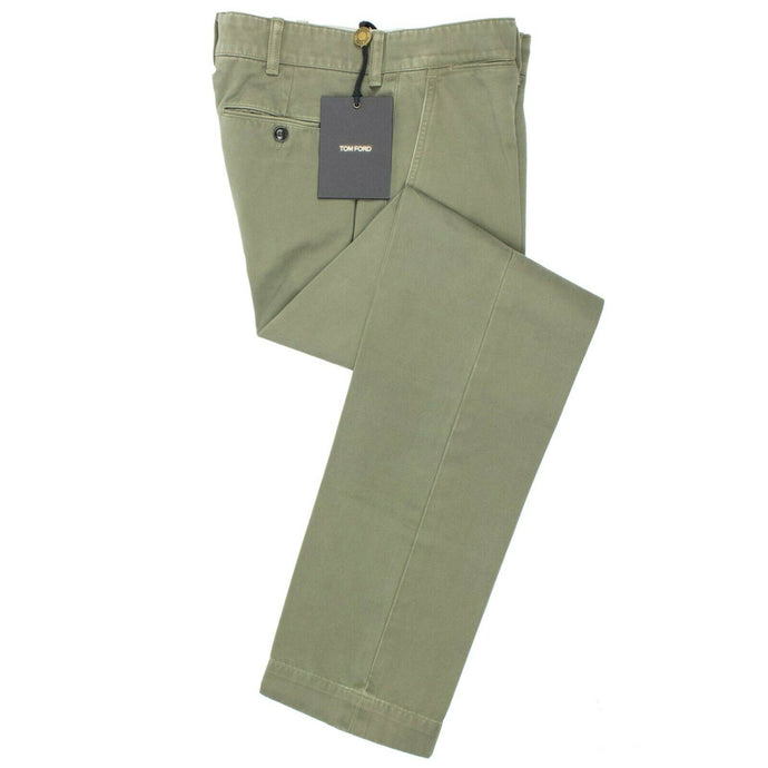 Cotton Button Fly Pants - Green