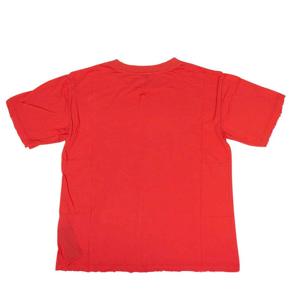 Cotton Distressed Short Sleeve T-Shirt Top - Red