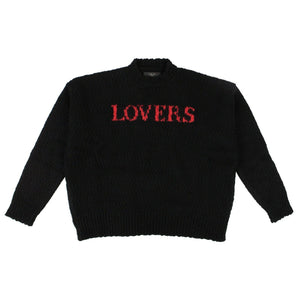 Wool Red 'Lovers' Oversized Sweater - Black